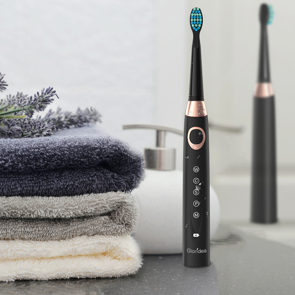 Gloridea Sonic Electric Toothbrush, Rechargeable Up to 30 Days Battery Life, 5 Modes, Smart Timer, Waterproof, 3 Brush Heads and 1 Interdental Brush Head